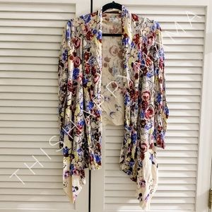 Anthropologie Guinevere Floral Draped Cardigan